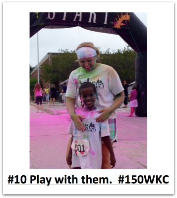 Jessica Cabeen and her son demonstrate the #150WKC Challenge